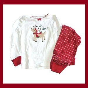 Gymboree PJ Girls Long Sleeve Pajamas Oh Deer Red